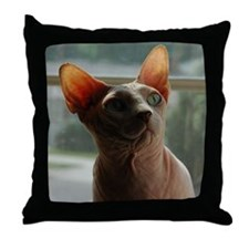 Funny Hairless cat Throw Pillow