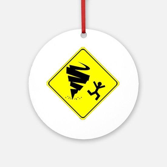 Tornado Caution Sign Ornament (Round)
