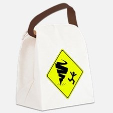 Tornado Caution Sign Canvas Lunch Bag