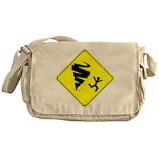 Tornado Caution Sign Messenger Bag