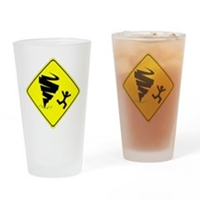 Tornado Caution Sign Drinking Glass