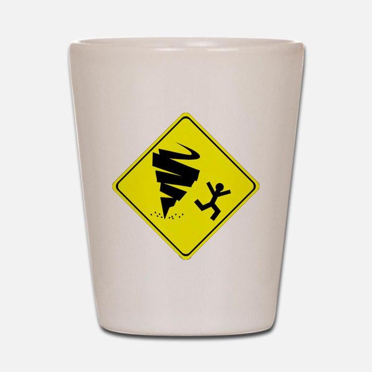 Tornado Caution Sign Shot Glass
