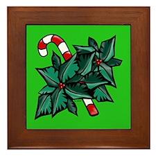 Candy Cane & Holly G Framed Tile