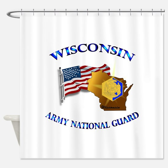 Army National Guard - WISCONSIN w Flag Shower Curt