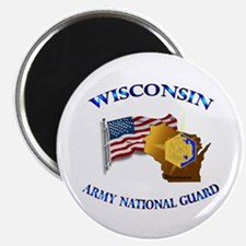 """Army National Guard - WISCONSIN w Flag 2.25"""" Magne"""
