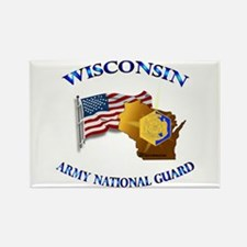 Army National Guard - WISCONSIN w Flag Rectangle M