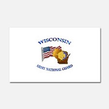Army National Guard - WISCONSIN w Flag Car Magnet