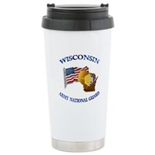 Army National Guard - WISCONSIN w Flag Thermos Mug
