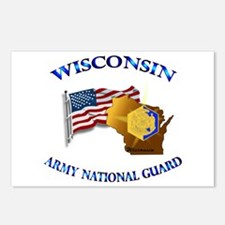 Army National Guard - WISCONSIN w Flag Postcards (
