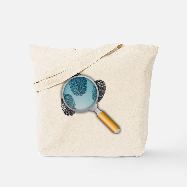 Fingerprints Under Magnifying Glass Tote Bag