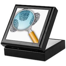 Fingerprints Under Magnifying Glass Keepsake Box