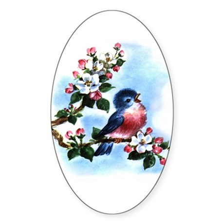 BLUEBIRD AND BLOSSOMS Oval Sticker