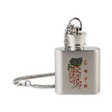 Skulls and Bones of Love Flask Necklace