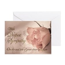 Sister, Pink rose sympathy card Greeting Card