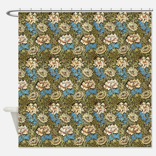 Morris Chrysanthemums with Repeats Shower Curtain