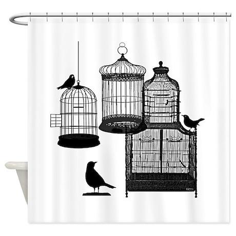 BW Vintage Style Bird Cages Illustration Shower Cu