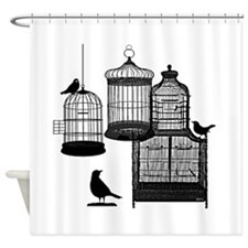 BW Vintage Style Bird Cages Illustration Shower Cu