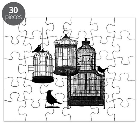 BW Vintage Style Bird Cages Illustration Puzzle by ...