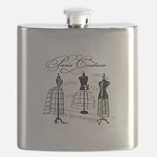 B&W Vintage Style Paris Couture Dressforms Flask