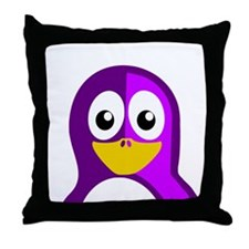 Purple Penguin Throw Pillow