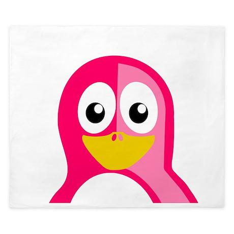 Pink Penguin King Duvet