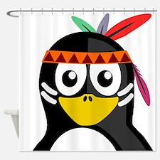 Native American Penguin Shower Curtain