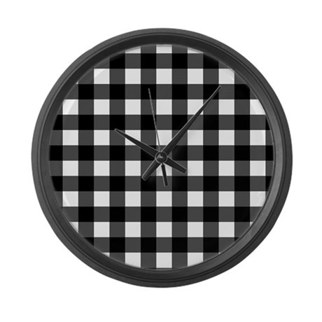 Black White Plaid Large Wall Clock By Digipixelshop