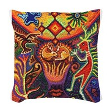 Shaman Red Deer 1 Woven Throw Pillow