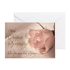 Aunt, Pink rose sympathy card Greeting Card