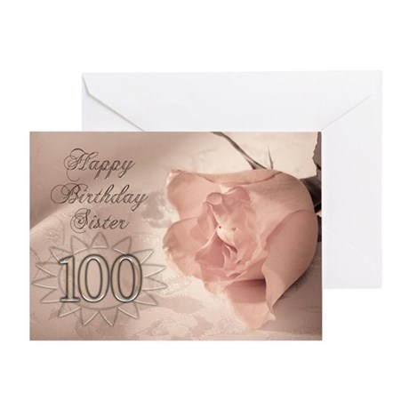 100th Birthday for sister, pink rose Greeting Card
