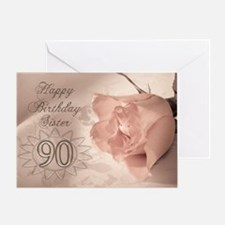 90th Birthday for sister, pink rose Greeting Card