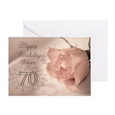 70th Birthday for sister, pink rose Greeting Card