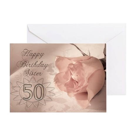 50th Birthday for sister, pink rose Greeting Card