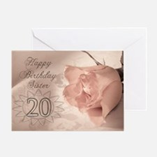20th Birthday for sister, pink rose Greeting Card