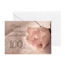 100th Birthday for grandmother, pink rose Greeting