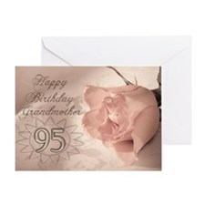 95th Birthday for grandmother, pink rose Greeting