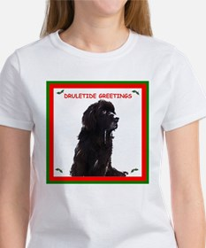 Newfy Drool Holiday dRuletide Greetings Women's T-