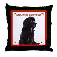 Newfy Drool Holiday dRuletide Greetings Throw Pill