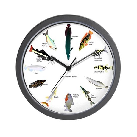 12 amazon fish clock wall clock by combatfishingcomamazonteeth for Fish wall clock