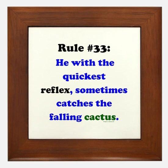 Rule 33 - Catch Falling Cactus Framed Tile