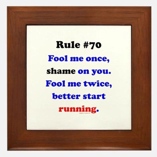 Rule 70 - Better Start Running Framed Tile