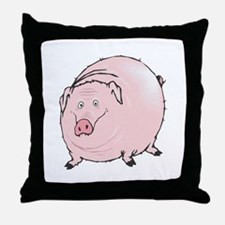 Silly Pot Belly Pig Throw Pillow