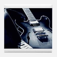 Vintage Guitar - Blue Tone Tile Coaster