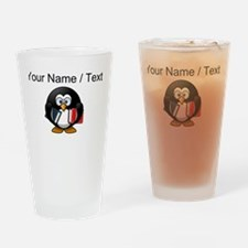 Custom Book Worm Penguin Drinking Glass