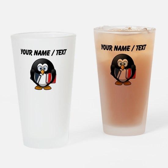 Custom Book Worm Penguin Drinking Glass