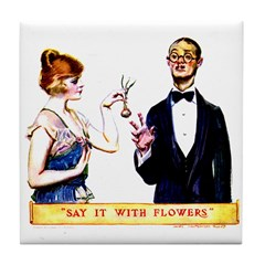 Say It With Flowers Tile Coaster