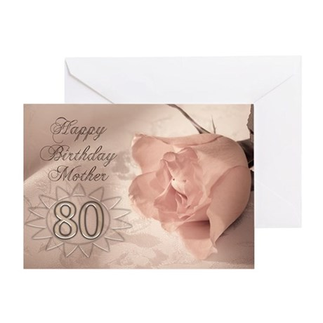 80th Birthday for mother, pink rose Greeting Card