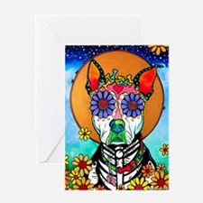 Sugar Skull Pit Bull Mix Greeting Cards
