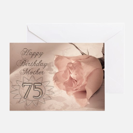 75th Birthday for mother, pink rose Greeting Card