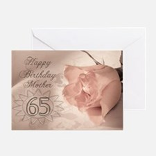 65th Birthday for mother, pink rose Greeting Card